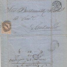 Sellos: CARTA ISABEL Nº 96 AÑO 1867 -MAT PARRILLA 1 DE MADRID A SANTANDER (CANTABRIA ) LLEGADA. Lote 190458125