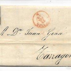 Sellos: SOBRE - CARTA COMERCIAL REINTEGRADO AÑO 1855 - DESDE ALICANTE - MARISTANY A TARRAGONA . Lote 190639450
