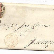 Sellos: SOBRE - CARTA COMERCIAL REINTEGRADO AÑO 1855 - DESDE BENICARLO - CASTELLON A A TARRAGONA . Lote 190640011