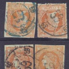 Sellos: TT4- CLÁSICOS EDIFIL 52 RUEDA DE CARRETA 59 TRUJILLO . NEGRA Y AZUL X 4 SELLOS. Lote 190783846