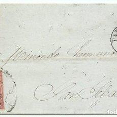 Sellos: 16/12/1858. PAMPLONA A SAN SEBASTIÁN, EDIFIL 48 MAT. RUEDA CARRETA 38. Lote 190817147