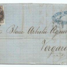 Sellos: 14/12/1869, SAN SEBASTIÁN A VERGARA, EDIFIL 98 MAT. RUEDA CARRETA 41. Lote 190817567