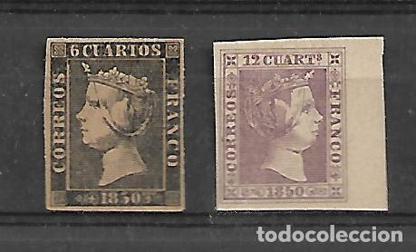 PRIMER CENTENARIO Nº 1,2 DE ESPAÑA NUEVOS PERFECTOS (Sellos - España - Isabel II de 1.850 a 1.869 - Nuevos)