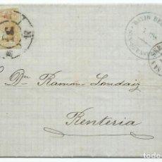 Sellos: 12/04/1861, SAN SEBASTIÁN A RENTERÍA, EDIFIL 52 MAT. RUEDA CARRETA 41. Lote 190836236