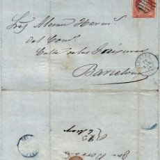 Sellos: AÑO1856 EDIFIL 48 ISABEL II CARTA MATASELLOS REJILLA Y AZUL LERIDA. Lote 190853332