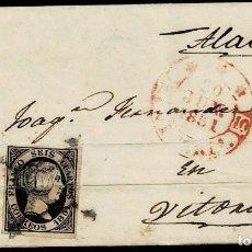 Sellos: 1851. BEASAIN A VITORIA. 6 CUARTOS NEGRO ED. 6 MAT. ARAÑA. MUY INTERESANTE ORIGEN EN CARTERÍA.. Lote 190974886