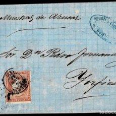 Sellos: 1859. OVIEDO A INFIESTO. 4 CUARTOS ED. 48 MAT. FECHADOR TIPO II. MARCA REMITENTE. MUY INTERESANTE.. Lote 190974992