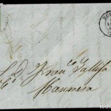 Sellos: 1860. BURGOS A MANRESA. 4 CUARTOS AMARILLO ED. 52 MAT. RC 21. FECHADOR TIPO II. MUY BONITA. COMPLETA. Lote 190975046