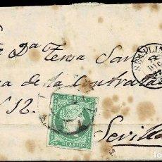 Sellos: 1859. SEVILLA. 2 CUARTOS VERDE ED. 47 MAT. RC 7 EN NEGRO. FECHADOR TIPO II. INTERESANTE. COMPLETA.. Lote 190975136