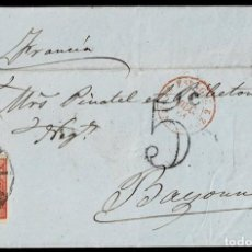 Sellos: 1861. MADRID A BAYONA. 12 CUARTOS CARMÍN ED. 53 MAT. RC 1 NEGRO. FECHADOR Y MARCAS FRONTERA. BONITA . Lote 190975250