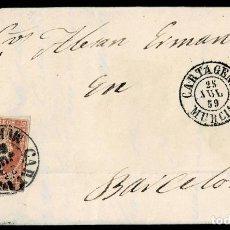 Sellos: 1859. MAZARRÓN A BARCELONA. 4 CUARTOS ED. 48 MAT. FECHADOR TIPO I. EN EL FRENTE TIPO II. MUY BONITA.. Lote 190975348