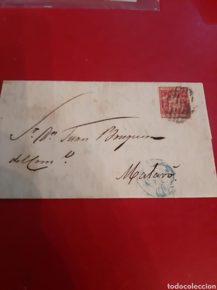 2854 MADRID DESTINO MATARO SELLO EDIFIL 33 4 CUARTOS 1854 ESCUDO ESPAÑA (Sellos - España - Isabel II de 1.850 a 1.869 - Cartas)