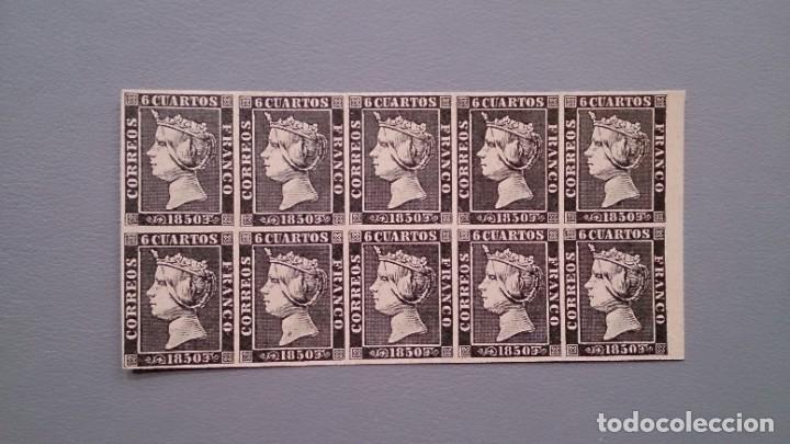 ESPAÑA - 1850 - ISABEL II - EDIFIL 1 - F - BLOQUE DE 10 - MNH** - NUEVOS - MUY BONITOS. (Sellos - España - Isabel II de 1.850 a 1.869 - Nuevos)