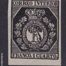 Sellos: TT23- CLÁSICOS CORREO INTERIOR MADRID . EDIFIL 22. PRUEBA NEGRO NUEVO (*) SIN GOMA. FALSO FILATELICO. Lote 191248993