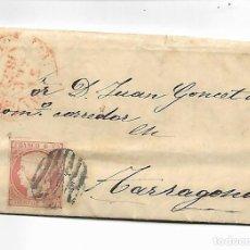 Sellos: SOBRE - CARTA COMERCIAL REINTEGRADO AÑO 1855 - DESDE BARCELONA -1- A TARRAGONA. Lote 191262892