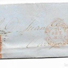 Sellos: SOBRE - CARTA COMERCIAL REINTEGRADO AÑO 1855 - DESDE BARCELONA -2- A TARRAGONA. Lote 191263177