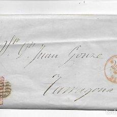 Sellos: SOBRE - CARTA COMERCIAL REINTEGRADO AÑO 1855 - DESDE ALICANTE - 2- A TARRAGONA. Lote 191263642