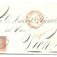 Sellos: CATALUÑA. EDIFIL 12. ENVUELTA CIRCULADA DE LERIDA A VICH. 1852. Lote 191337286