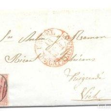 Sellos: CATALUÑA. EDIFIL 12. ENVUELTA CIRCULADA DE LA SEO DE URGELL A VICH. 1852. Lote 191338127