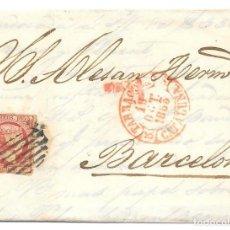 Sellos: CATALUÑA. EDIFIL 18. ENVUELTA CIRCULADA DE TARRAGONA A BARCELONA. 1853. Lote 191338436