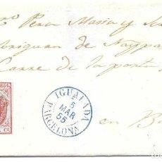 Sellos: CATALUÑA. EDIFIL 33A. ENVUELTA CIRCULADA DE IGUALADA A BARCELONA. 1855. Lote 191339077