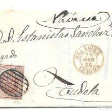 Sellos: CATALUÑA. EDIFIL 33A. ENVUELTA CIRCULADA DE BALAGUER A TUDELA - NAVARRA. 1855. Lote 191339335
