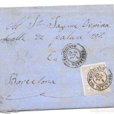 Sellos: CATALUÑA. EDIFIL 96. ENVUELTA CIRCULADA DE IGUALADA A BARCELONA 1868. Lote 191341777