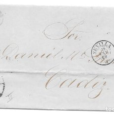 Sellos: ANDALUCIA. EDIFIL 48A. ENVUELTA CIRCULADA DE SEVILLA A CADIZ. 1860. Lote 191346358