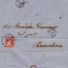 Sellos: AÑO1856 EDIFIL 48 ISABEL II CARTA MATASELLOS RUEDA DE CARRETA 15 ZARAGOZA MEMBRETE ARANDA. Lote 191639885