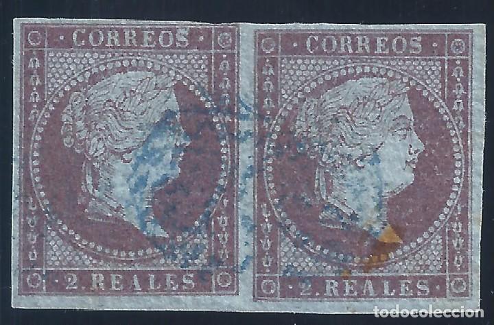 EDIFIL 42 ISABEL II. AÑO 1855. PAPEL AZULADO CON FILIGRANA LAZOS. PAREJA.VALOR CATÁLOGO: 42 €. (Sellos - España - Isabel II de 1.850 a 1.869 - Usados)