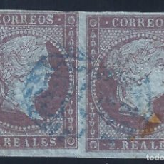 Sellos: EDIFIL 42 ISABEL II. AÑO 1855. PAPEL AZULADO CON FILIGRANA LAZOS. PAREJA.VALOR CATÁLOGO: 42 €.. Lote 215769548