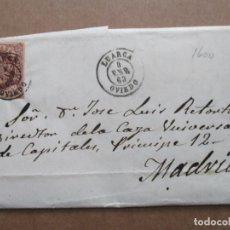 Sellos: CIRCULADA Y ESCRITA 1863 DE LUARCA OVIEDO A MADRID. Lote 191715851