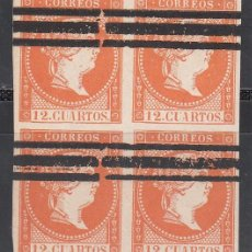 Sellos: ESPAÑA, 1856 EDIFIL Nº NE 1AS, BLOQUE DE CUATRO . Lote 191736790