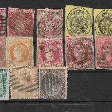Sellos: ESPAÑA. CONJUNTO DE 23 SELLOS DIFERENTES DE ISABEL II. Lote 191899530