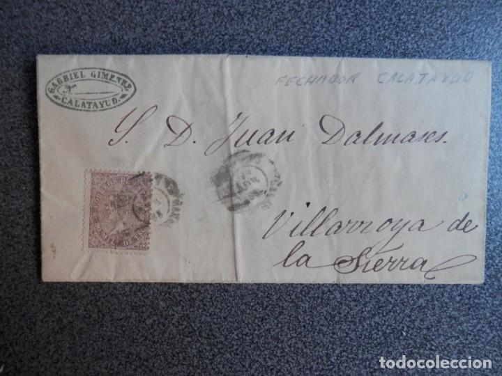 CARTA COMPLETA AÑO 1869 CALATAYUD ZARAGOZA EDIFIL 98 A VILLARROYA (Sellos - España - Isabel II de 1.850 a 1.869 - Cartas)