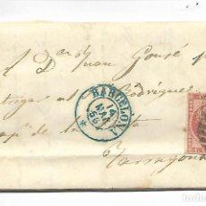 Sellos: PREFILATELIA SOBRE CARTA COMERCIAL DE BARCELO A TARRAGONA AÑO 1856. Lote 193959683