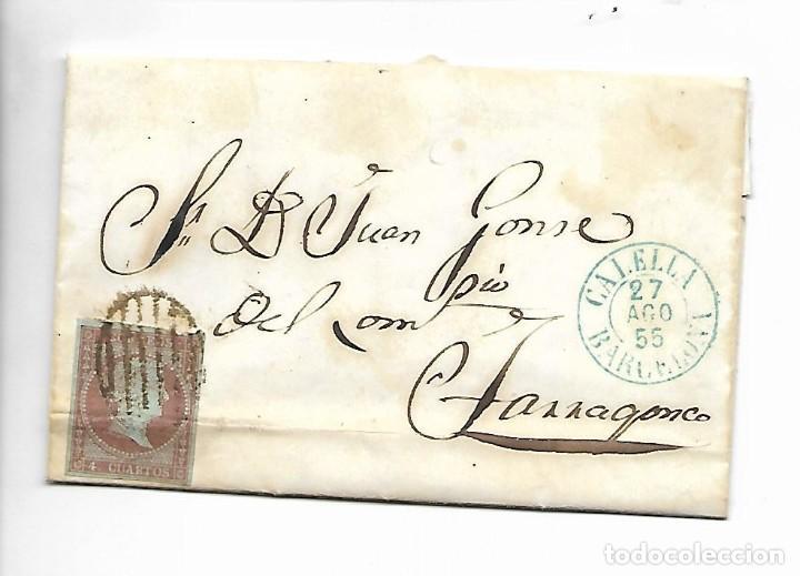 PREFILATELIA SOBRE CARTA COMERCIAL DE BLANES - MATASELLOS CALELLA A TARRAGONA AÑO 1855 (Sellos - España - Isabel II de 1.850 a 1.869 - Cartas)