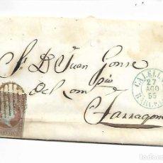 Sellos: PREFILATELIA SOBRE CARTA COMERCIAL DE BLANES - MATASELLOS CALELLA A TARRAGONA AÑO 1855. Lote 193960297