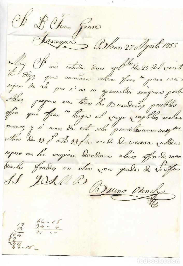 Sellos: PREFILATELIA SOBRE CARTA COMERCIAL DE BLANES - MATASELLOS CALELLA A TARRAGONA AÑO 1855 - Foto 3 - 193960297