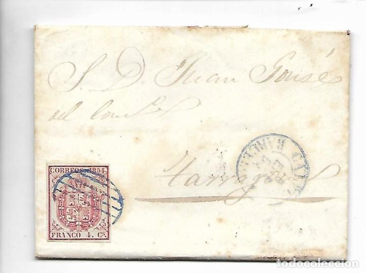 PREFILATELIA SOBRE CARTA COMERCIAL DE BLANES - MATASELLOS BARNA A TARRAGONA AÑO 1855 (Sellos - España - Isabel II de 1.850 a 1.869 - Cartas)