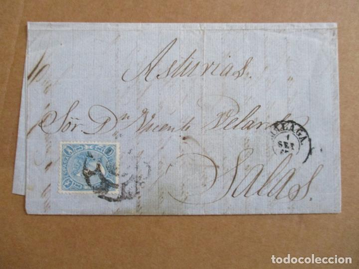 CIRCULADA Y ESCRITA DESDE EL 12 ESTA ABIERTO EL FERROCARRIL DE CARDONA 1865 DE MALAGA A SALAS OVIEDO (Sellos - España - Isabel II de 1.850 a 1.869 - Cartas)