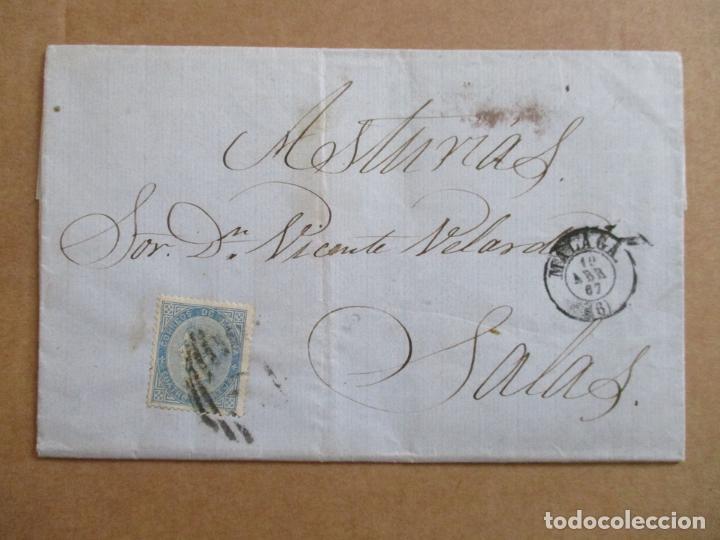 CIRCULADA Y ESCRITA GARRAFONCITO DE AGUARDIENTE DE DOBLE ANISADO 1867 DE MALAGA A SALAS OVIEDO (Sellos - España - Isabel II de 1.850 a 1.869 - Cartas)