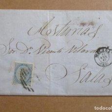 Timbres: CIRCULADA Y ESCRITA GARRAFONCITO DE AGUARDIENTE DE DOBLE ANISADO 1867 DE MALAGA A SALAS OVIEDO. Lote 193986696