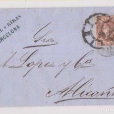 Sellos: CARTA ENTERA. 1862. BARCELONA A ALICANTE. RUEDA DE CARRETA. MARCA COMERCIAL. Lote 194157075