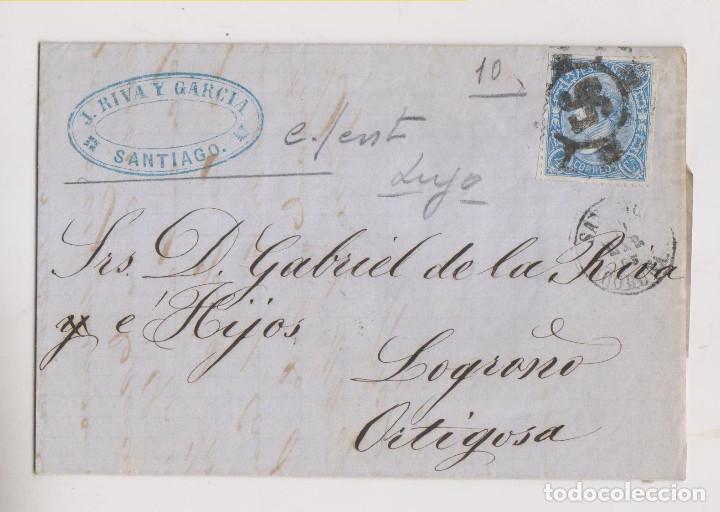 CARTA ENTERA. SANTIAGO, GALICIA. 1865. BONITA RUEDA DE CARRETA. MARCA COMERCIAL (Sellos - España - Isabel II de 1.850 a 1.869 - Cartas)