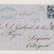 Sellos: CARTA ENTERA. SANTIAGO, GALICIA. 1865. BONITA RUEDA DE CARRETA. MARCA COMERCIAL. Lote 194157893