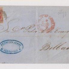 Sellos: ENVUELTA. SANTANDER A BILBAO. PARRILLA Y BAEZAS. 1853. MARCA COMERCIAL. Lote 194161727