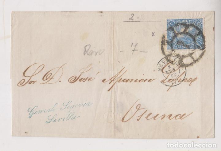 FRONTAL. 2 DE ENERO 1865. SEVILLA. RUEDA DE CARRETA Y MARCA COMERCIAL (Sellos - España - Isabel II de 1.850 a 1.869 - Cartas)