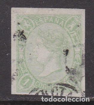 1865. ISABEL II 1 REAL VERDE USADO EDIFIL Nº 72 (Sellos - España - Isabel II de 1.850 a 1.869 - Usados)