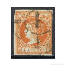 Sellos: [CF1209B] ESPAÑA 1860, ISABEL II, 4 C. NARANJA (U). Lote 194359580